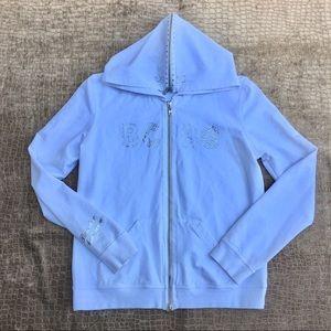 BCBGMAXAZRIA White Zipper Hoodie Sweatshirt NWOT